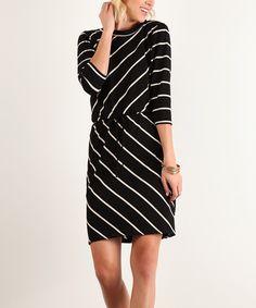 Another great find on #zulily! J-Mode USA Los Angeles Black Bias Stripe Blouson Dress by J-Mode USA Los Angeles #zulilyfinds