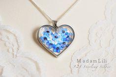 925 ♥ prawdziwe kwiaty niezapominajki ♥ srebrny łańcuszek |MadamLili