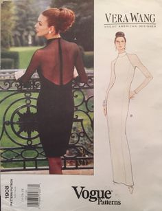 Items similar to Vogue American Designer Original Vera Wang Fitted Evening Gown Cocktail Dress w Princess Seams, Illusion Back Size Pattern 1908 on Etsy Classic Fashion, Royal Fashion, 90s Fashion, High Fashion, Vintage Vogue, Vintage Fashion, Vogue America, Miss Dress, Vogue Patterns