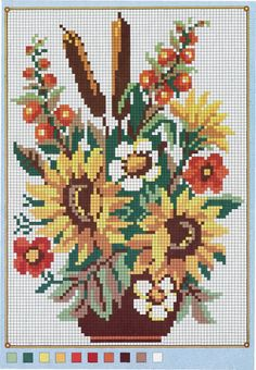 Floral bouquet pattern / chart for cross stitch, crochet, knitting, knotting, beading, weaving, pixel art, and other crafting projects.