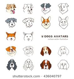 Breeds of dog head avatars. Funny cartoon style color, black and white line illustration. Vector isolated from white background. Different dogs set. Avatar Funny, St Bernard Dogs, Kawaii Doodles, Dog Vector, Line Illustration, Illustrations, Black And White Lines, Different Dogs, Shiba Inu