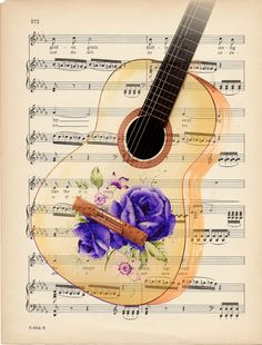 Guitar Instrument With Beautiful Purple Roses On Music Sheet Poster No Frame