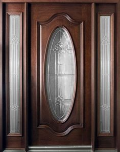 Mahogany Solid Wood Front Entry Door - Single with 2 Sidelites Custom Exterior Doors, Custom Wood Doors, Wood Exterior Door, Wooden Glass Door, Wooden Door Design, Wooden Doors, Timber Door, Wood Entry Doors, Rustic Doors