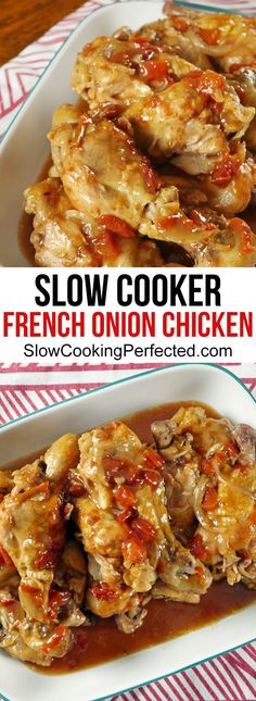 Delicious slow cooker french onion chicken. The sauce the chicken cooks in is absolutely delicious. French Onion Chicken, Cooking Brisket, Cooking Beef, Camping Cooking, Italian Cooking, How To Cook Brisket, Cooking Mussels, Oven Cooking, Pressure Cooking
