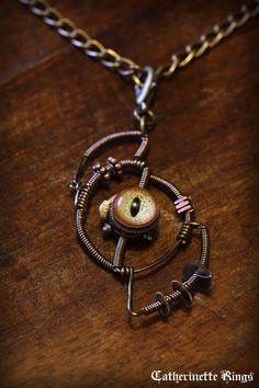 Steampunk Jewelry - Pendant - Alligator Eye Necklace