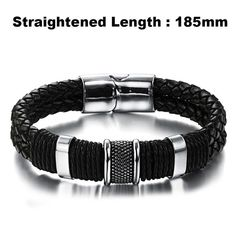 2017 Fashion Brand Men Bracelet Stainless Steel Leather Wristband Vint – Gifts Leads Bracelets For Men, Fashion Bracelets, Fashion Jewelry, Armband Vintage, Black Leather Bracelet, Leather Wristbands, Bracelet Clasps, Bracelet Men, Cuff Bracelets