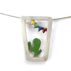 Carnaval Pendant-sterling silver and enamel by mujoyas on Etsy Enamel Jewelry, Copper Jewelry, Jewelry Art, Cactus, Polymer Clay Pendant, Silver Enamel, Metal, Jewerly, Contemporary Art