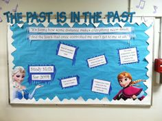 "Disney ""Frozen"" bulletin board. ""The Past is in the Past."" (Let it Go). Study Skills for 2014. ""It's funny how some distance makes everything seem small, And the fears that once controlled me can't get to me at all."" (Read all materials before class; take handwritten notes in class; Read over notes as soon as possible after class; compare class notes with the assigned reading materials) #Frozen #Disney #Elsa #Anna #bulletinboard #RA #residentassistant #reslife #UTK #utkhousing"