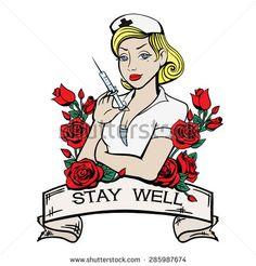 Vector Color Tattoo Nurse Illustration - stock vector
