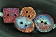 Four 2hole handmade Raku Buttons by elementspottery on Etsy, $23.50