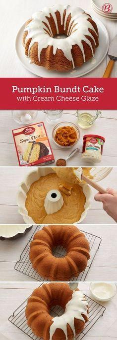 Pumpkin Bundt Cake With Cream Cheese Glaze Recipe - (bettycrocker)