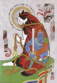 "culturenlifestyle: "" Monmon Cat by Kazuaki Horitimo California based Japanese artist Kazuaki Horitomo composes surreal illustrations that depict adorable scenes with cats in them. Keep reading "" Tattoo Gato, Cat Tattoo, Japanese Cat, Japanese American, Japanese Artwork, Japanese Prints, Tattoo Samurai, Japanese Folklore, Illustration Art"