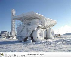Frozen mining truck - http://geekstumbles.com/funny/uber-humor/frozen-mining-truck/