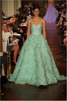 2012 Collection - Tiffany blue gown by Romona Keveza.  Evening wear and bridal collections inspired by 60s style icon, Brigitte Bardot