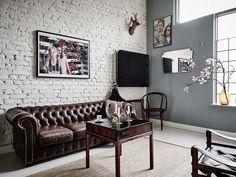Casinha colorida: Revestimento da moda: os tijolos expostos e pintados