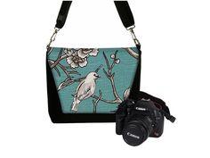 Deluxe DSLR Camera Bag for Women Pretty Bird Blue SLR Camera Messenger Bag  $84.99