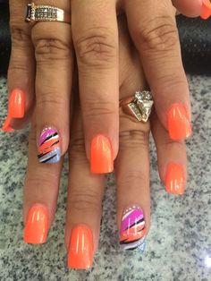 Colorful Nail Designs - 35 Creative DIY Nail Art for Summer this Year Nail Art Diy, Cool Nail Art, Diy Nails, Nail Nail, Gold Nail, White Nail, Diy Art, Nail Art Designs, Fingernail Designs