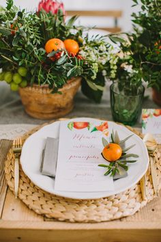 Ideas For Fall Brunch Decorations Place Settings Fruit Decorations, Decoration Table, Wedding Decorations, Wedding Centerpieces, Table Place Settings, Wedding Place Settings, Fruit Wedding, Orange Wedding, Summer Wedding