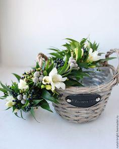 Купить Свадебный венок из живых цветов - венок на голову, свадебный венок, венок из цветов