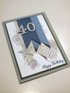 Clockworks SU stamp set - Nice color scheme - Male, Masculine guy card