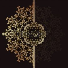 Illustration of Elegant floral pattern on a dark background. Can be used as a wedding invitation vector art, clipart and stock vectors. Art Deco Design, Graphic Design Art, Design Set, Backgrounds Free, Vector Background, Backdrop Background, Stock Foto, Grafik Design, Mandala Design