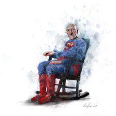 Super Grandpa by Lisa Aisato William Turner, Hug You, Good Morning Images, Funny Art, Rocking Chair, Art Forms, Gouache, Lisa, Illustration Art