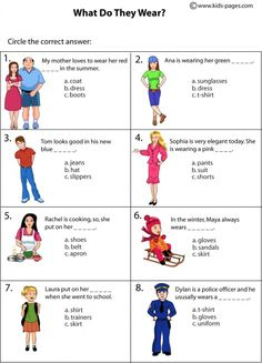 Clothes Multiple Choice worksheets