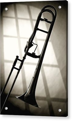 This is a fine art black and white monochrome photograph image of a slide trombone in front of a window in the vertical format. This is a great present or gift for a young musician. Trombone, Band Senior Pictures, Evelyn Glennie, Brass Instrument, Music Studio Room, Band Nerd, Music Clips, Music Artwork, Music Images