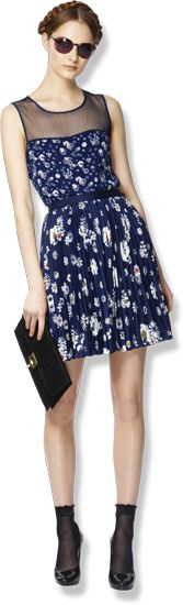 Love this outfit! Jason Wu for Target...Sleeveless Top with Sheer Panel in Navy Floral and Pleated Skirt in Navy Floral...so cute!