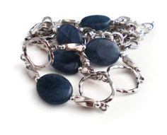 Kyanite Denim Blue Oval Beads with Silver Plated Frame beads and Simple Silver Loop Chain Necklace