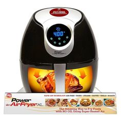 The Power AirFryer XL lets you to enjoy all your favorite fried foods without all the guilt. The 6-in-1 cooking technology lets you fry, bake, steam, saute, grill or roast your food with the power of super-heated air instead of fatty oils. Seven food presets like French Fries, Steak and Baked Goods help take the guessing out of frying. Simply load the food in the basket, select a preset and sit back as the AirFryer XL super-heats your food to give it the savory crunch that makes your fried…