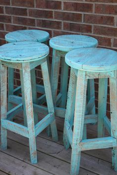 YOUR Custom Reclaimed Painted Rustic and Recycled Oak Barn Wood Bar Stools… Painted Bar Stools, Wood Bar Stools, Painted Chairs, Bar Chairs, Painted Furniture, Dining Chairs, Palet Bar, Blue Armchair, Rico Design