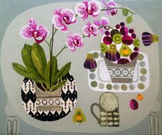 Enlarge Orchid On Grey Table by Vanessa Bowman