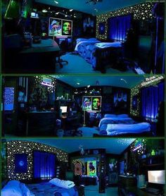 blacklight for my new room Awesome Bedrooms, Cool Rooms, Coolest Bedrooms, Dream Rooms, Dream Bedroom, Emo Bedroom, Trendy Bedroom, Hippie Bedroom Decor, Blue Bedrooms