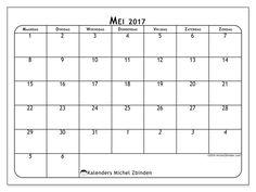 Gratis! Kalender voor mei 2017 af te drukken