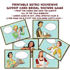 Printable 1950's Retro Housewife Gossip Girls by onelovedesignsllc