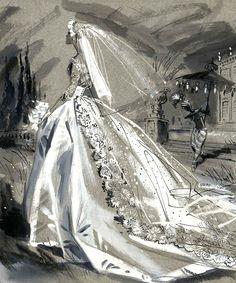 wedding dress illustration by Jay Hyde Crawford Wedding Dress Sketches, Wedding Dress Patterns, Dream Wedding Dresses, Wedding Gowns, Wedding Art, Wedding Bride, Vintage Outfits, Vintage Fashion, Wedding Illustration