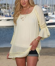 Look what I found on #zulily! Vanilla Bell-Sleeve Off-Shoulder Tunic #zulilyfinds