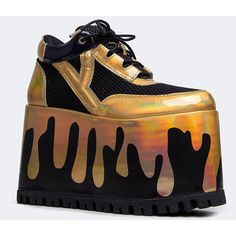 QOZMO MATRIX SNEAKER (€84) ❤ liked on Polyvore featuring shoes, sneakers, gold slip on sneakers, leopard print slip-on sneakers, gold shoes, hologram sneakers and gold sneakers