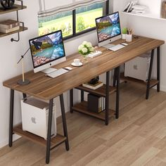 Home Office Space, Home Office Desks, Workspace Desk, Pc Desk, Desk Space, Office Desk Furniture, Double Desk Office, Bedroom Workspace, Wood Office Desk