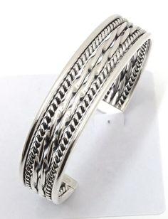 Sterling Silver Native American Navajo Indian Cuff Bracelet C042501