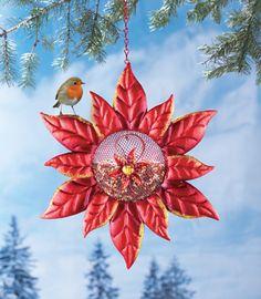 Poinsettia Hanging Birdfeeder