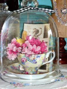 Teacup Flower Cloche...love antique tea cups