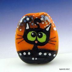 """LOOPY LULU"" byKAYO a Handmade CRAZY CAT Lampwork Art Glass Focal Bead SRA #Lampwork"