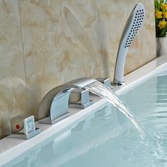 Bathtub Roman Filler Waterfall Faucet with Shower Sprayer Tub Faucet, Faucets, Bathtub, Waterfall Faucet, Modern Shower, Roman, Household, Oasis, Utah
