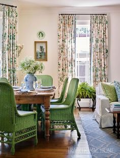 The springy palette continues in the breakfast room where verdant green dining chairs pull up to a rustic table. combined living and dining Home Interior, Interior Decorating, Interior Design, Decorating Ideas, Decor Ideas, Interior Livingroom, Interior Plants, Fun Ideas, Retro Home Decor