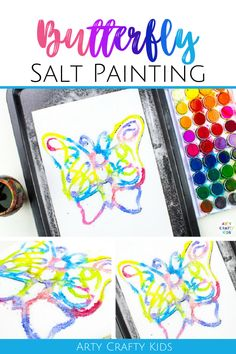 Looking for watercolor salt painting for kids ideas? This butterfly salt painting for kids art project is simple + fun! Get printable art templates + salt painting for kids videos for this butterfly salt art for kids + other easy art for kids here! Art Ideas for Kids | Easy Art Projects for Kids | Butterfly Crafts for Kids | Butterfly Art for Kids | Easy Spring Crafts for Kids | Spring Art Projects for Kids | Watercolor Art for Kids #SaltPainting #SaltArt #SpringCrafts #ButterflyCrafts Spring Art Projects, Spring Crafts For Kids, Easy Art Projects, Projects For Kids, Abstract Art For Kids, Painting For Kids, Easy Arts And Crafts, Fun Diy Crafts, Butterfly Crafts