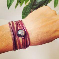 Leather wrap, TAHITIAN pearl bracelet @ www.acompton.com Spiritual Jewelry, Tahitian Pearls, Pearl Bracelet, Fine Jewelry, Strong, Awesome, Bracelets, Modern, Leather