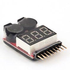 2 IN 1 1-8S Lipo/Li-ion/Fe Battery Voltage Tester Low Voltage Buzzer Alarm Checker For Vehicles & Remote Control Toys