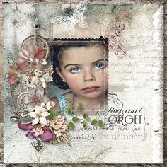 Beautiful Layout of Young Girl. Creator Unknown ~ Wendy Schultz ~ Inspiring Creations.